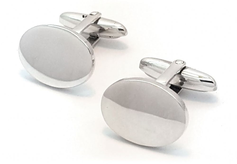 Mens Oval Line Sterling Silver T-Bar Cufflinks  - Made in Britain